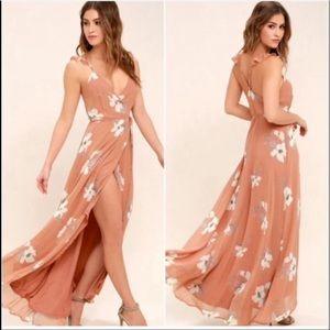 Lulu's All Mine Rusty Rose Floral Print Wrap Dress